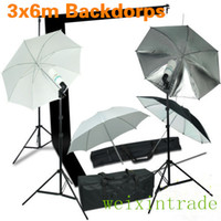 Wholesale Photography W Umbrella Light Photo Video Studio Lighting Kit W B Backdrops