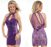 Short High Neck Halter Purple Lace Tulle Homecoming Evening ...