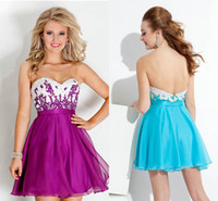 Colorful White and Purple Short Chiffon Homecoming Graduatio...
