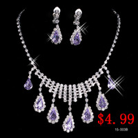 Wholesale Cheap Fashion Wedding Bridal Prom Jewelry Necklace Earring with Set Rhinestone Crystal Cheap on Sale