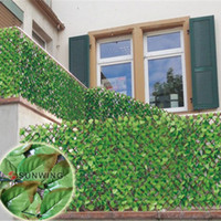 chain link fence - SGS certificate mX3m artificial green hedge chain link fence fake fence rose leaf for garden fence G0602B002D