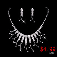 Wholesale Only Best Selling Charming Wedding Bridal Bridesmaids Rhinestone Necklace Earrings Jewelry Set