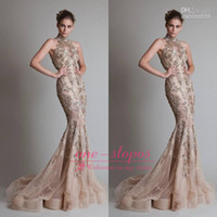 Wholesale Real Image Hot Krikor Jabotian Evening Dresses High Neck Lace Appliques Sheer Tulle Crystal Beaded Glitz Mermaid Open Back Prom Gowns