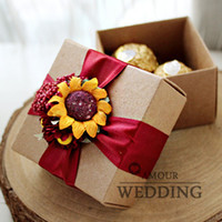 cardboard gift boxes - Vintage Environmental Kraft Cardboard Sunflower Candy Boxes Red Ribbon Wedding Favor Boxes Party Gift DHL FEDEX EMS TNT UPS