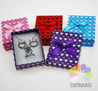Wholesale Mixed Color Paper Heart Bow Jewelry Gift Packaging Box Case For Necklace Earrings And Ring