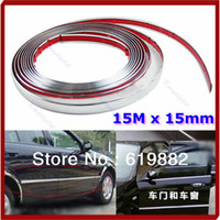 D4984 Styling Mouldings Without Retail Box Silver 15M 15mm Car Auto Chrome DIY Moulding Trim Strip Door Window Bumper Grille Protector Sale