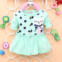 Cheap 4pcs Children girl's 2014 Spring Autumn girl long sleeve cardigan Polka dot coat with smile cat 3color WYF 1738