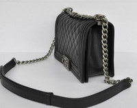 Wholesale hot NEW SMALL BLACK LAMBSKIN LE BOY SHOULDER BAG PURSE