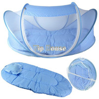 Gauze Unisex Solid Baby Infant Bed Canopy Mosquito Net Cotton-padded Mattress Pillow Tent Foldable Portable 11568