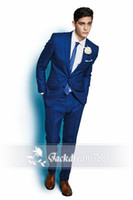 Wholesale New Arrival Groomsmen Suits Two Button Royal Blue wedding suits for men Groom Groomsmen Tuxedos mens wedding suits Jacket Pant Tie