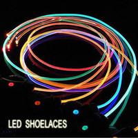 Home LED Shoelace CE / FCC Wholesale - Funny 80cm Length Flashing Shoelaces LED Decor Light Luminous Shoestrings Shoe Laces with ABS Plastic, Free Shipping