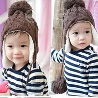 Wholesale Children s hats cannabis plus velvet three balls ear cap baby winter warm hat wool cap