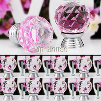 Ceramic  New TK0739# 2014 New 8 Pcs Glass Crystal Cabinet Drawer Furniture Knob Kitchen Pull Handle Door Wardrobe Hardware 30mm Clear Pink TK0739