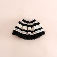 Wholesale 2014 Autumn Children s Stripe Lace Skirts Kids girl crochet lace Tulle TUTU baby dress