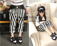 Wholesale children clothes summer and autumn new girl vertical stripes bow big PP pants harem pants feet dandys