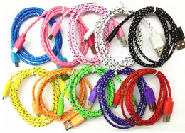 Wholesale Micro USB V8 V9 USB Braided Cable M ft M ft M ft Data Sync Nylon Fabric Line Cord for Samsung Galaxy S3 S4 S5 Note HTC