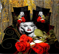 Polyester / Cotton Knitted Home Natural Tabby Cotton Oil Painting 3D Marilyn Monroe Rose 4pcs Full Queen Size Bedding Set,Quilt Duvet Cover Wedding Beddingset