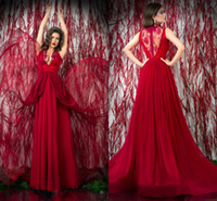 Cheap Reference Images sexy prom dress gown 2014 Best V-Neck Chiffon evening dress lace sleeve