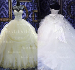 Wholesale 2014 Vintage gorgeous Ball Gown tulle Wedding Dresses with Sweetheart Crystals Beaded and Lace Bow Cathedral Train Bridal Gowns ZG0002
