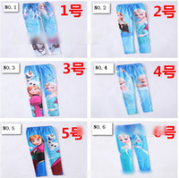 Wholesale In Stock Frozen Elsa Anna Children Girls Legging Snow Queen Olaf Kids Trousers Tights Childs Princess Elsa Patterns Pants H0927