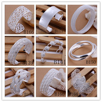 Wholesale Mixed Order high quality plated sterling silver bangles fashion classic jewelry for women Christmas gift