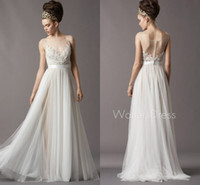 Wholesale 2015 New Watters Wedding Dresses Ivory Beaded Soft Netting Bateau Illusion Neck Floor Length Designer Wedding gowns hot