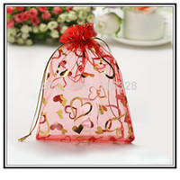 Wholesale x9cm Red Heart Jewelry Gift Organza Bag Gift Bag Pouch For Jewelry Packaging Drawable Wedding Gift Bags