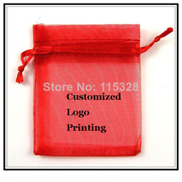 Wholesale 100pcs lot 7x9cm Red Can Customized Logo Small Christmas Drawstring Organza Jewelry Wedding Gift Pouch Bags
