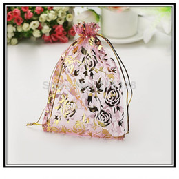 Free Shipping Wholesale 100pcs lot 7x9cm Small Pink Rose Drawstring Jewelry Pouch Bags Wedding Gift jewelry making