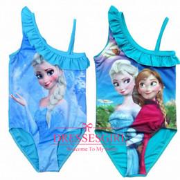 Wholesale 2014 New Arrival Frozen Swimwear amp Beachwear Girls Swimsuit Summer Beach Princess Anna Elsa One Piece Bodysuit Blue Fashion Bodysuit Dresses