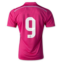 Wholesale Top Thai Quality AAA season away BENZEMA pink Color Soccer football Jerseys real hollywoodjersey madrid