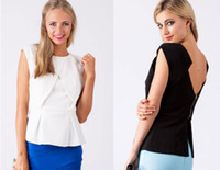 Cheap New 2014 Black White Work Office Woman Sleeveless Ruffle Peplum Tops Blouses T25176 Lady Zipper Back Cute Slim T-Shirt Blouse Blusa De Renda