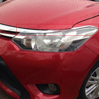 Wholesale ABS Chrome Front Head Light Lamp Headlight Eyelid Cover Trim For Toyota Vios Yaris dr Sedan