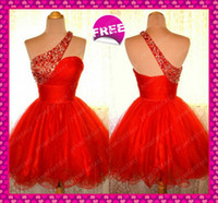 Real Image Red Tulle Short One Shoulder Homecoming Cocktail ...