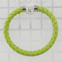 Wholesale New MIC Weave Leather Czech Crystal Rhinestone Cuff Clay Magnetic Clasp Bracelets Bangle colors size length cm cm cm