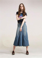 Wholesale hot sell fashion long jean skirt long blue jean skirts