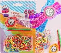 Cheap 2014 DIY Kids Kit Rubber bands Bracelet Watch Set Kids Toys round Creative loom bands watches