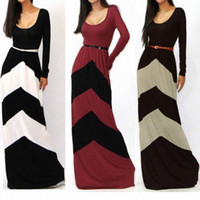 Wholesale Women SUMMER Casual CHEVRON COLOR BLOCKED LONG SLEEVE EMPIRE WAISTED JERSEY Party MAXI DRESS S M L