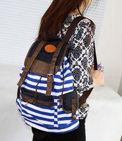 Wholesale hot sell girl stripe backpack Women s Striped Bookbag Travel Rucksack School Bag Satchel Canvas Backpack p l