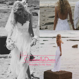 Wholesale 2014 Beach Wedding Dresses Sexy Backless White Spaghetti See Through Sweep Train High Low Lace Chiffon Sheer Sexy Bridal Gown Dress