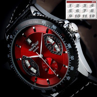 Wholesale Hot Sale Automatic design Mechanical Cool Men s Red Leather Wrist Watch Dial Auto Mechanical