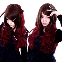 Wholesale Hot Item Sale Women Cosplay Wig Curly Burgundy Ombre Color Natural Wigs Cap Stretch Adjustable Gothic Style Lolita Cosplay Wig GHW21