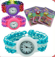 Children's best made watches - 2014 new DIY Knitting Braided Watch Bracelet loom watch hand making rubber bands Bracelet best christmas children gift color