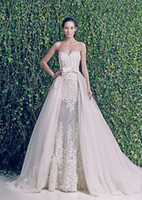 Cheap 2014 Vintage Zuhair Murad Wedding Dresses See ThroughSee Through Detachable Skirt Wedding Dress with Lace Applique and Ribbon Bow