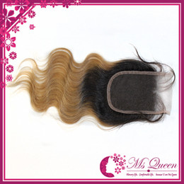 Wholesale Top lace closure bleached knots body wave ombre hair closure color b human hair free part density