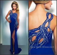 Wholesale 2014 Plus Size Blue Custom made Sheath One shoulder Beads Split front Stretch silk Floor length Prom Evening Dresses