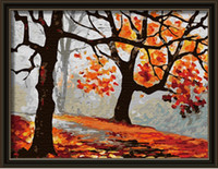 Wholesale JIUJIU DIY digital oil painting by numbers abstract painting unique gift canvas X40 Falling of autumn paint by number