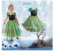 Wholesale 5pc Frozen Elsa Anna Girl s Costume dresses tulle Short sleeve baby girl dress princess girls party dress children kids girl ball go Z358