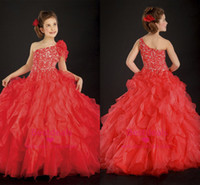 2014 Gorgeous Red Organza Girls Pageant Dresses One Shoulder...