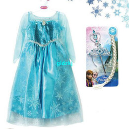 Wholesale S high quality Girls Frozen Princess Dresses Anna Elsa Cosplay Costume Kid s Party Dress Dresses without headand